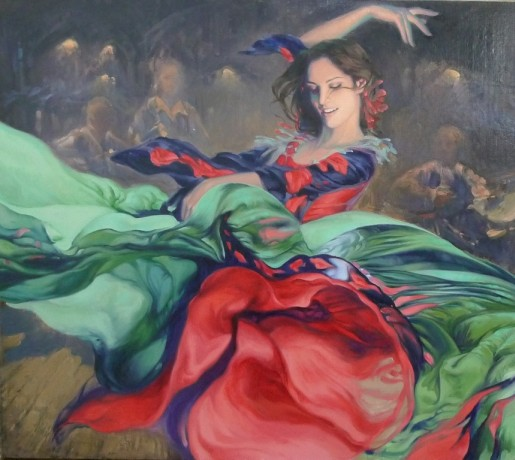 Flamenco dancer in Green and Red
